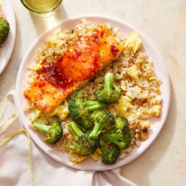 Sweet Chili-Glazed Salmon with Broccoli & Fried Rice