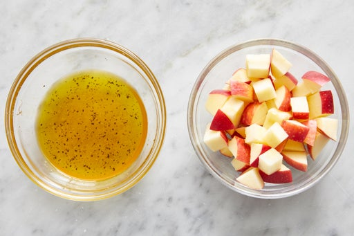 Prepare the apple & make the dressing: