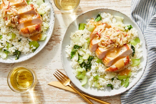 Miso Butter Pork Chops with Bok Choy & Marinated Apple
