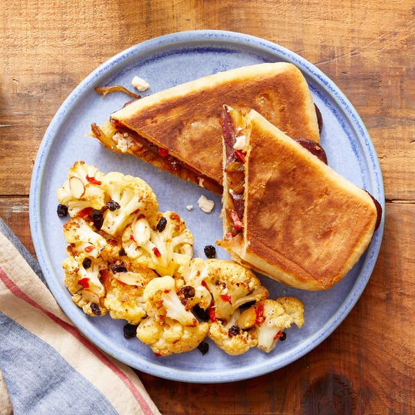 Caramelized Onion & Feta Sandwiches with Roasted Cauliflower Salad