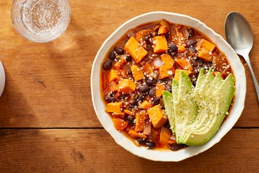 Black Bean & Sweet Potato Chili with Avocado & Cotija Cheese