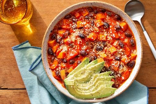 Black Bean & Sweet Potato Chili with Avocado & Cotija Cheese