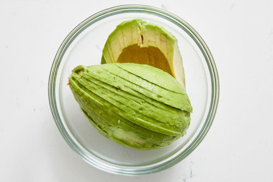 Prepare the avocado & serve your dish: