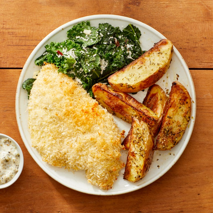 Panko-Crusted Chicken with Roasted Potatoes, Garlic-Sautéed Kale, & Caper Mayo