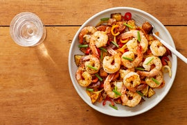 Garlic Shrimp & Spanish-Style Potatoes with Peppers & Onion