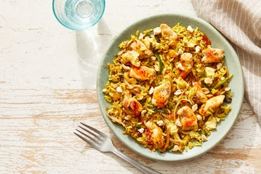Curry-Spiced Chicken Fried Rice with Sweet Chili Sauce