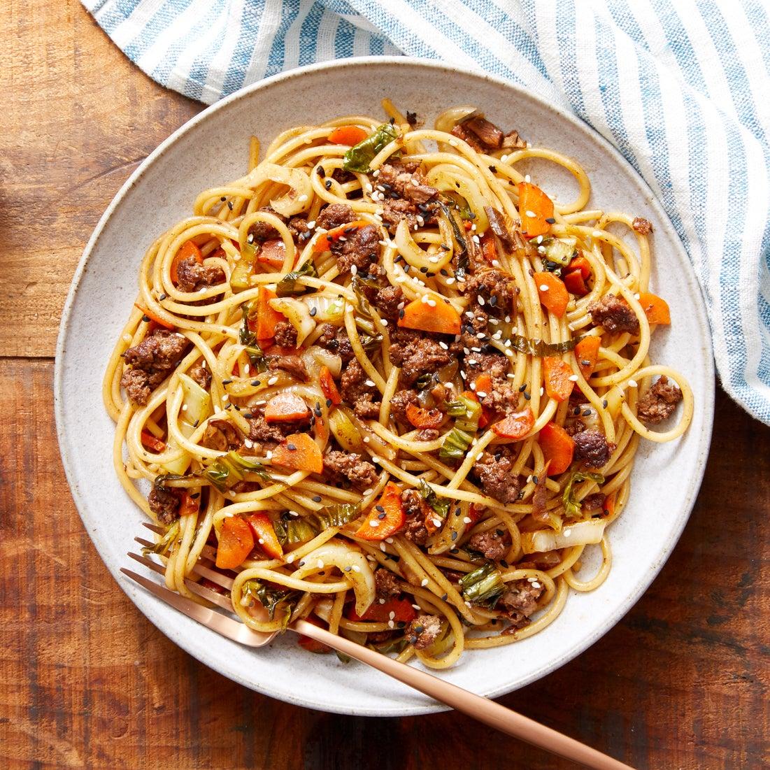 Beef & Shiitake Mushroom Noodles with Bok Choy & Carrots