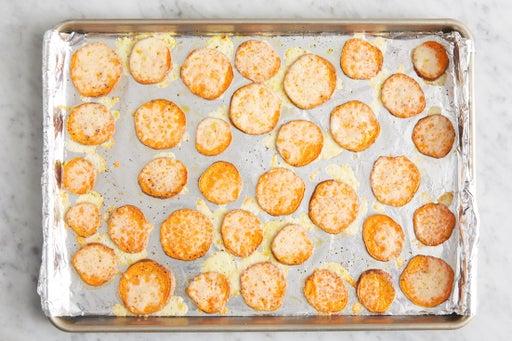 Make the cheesy sweet potatoes: