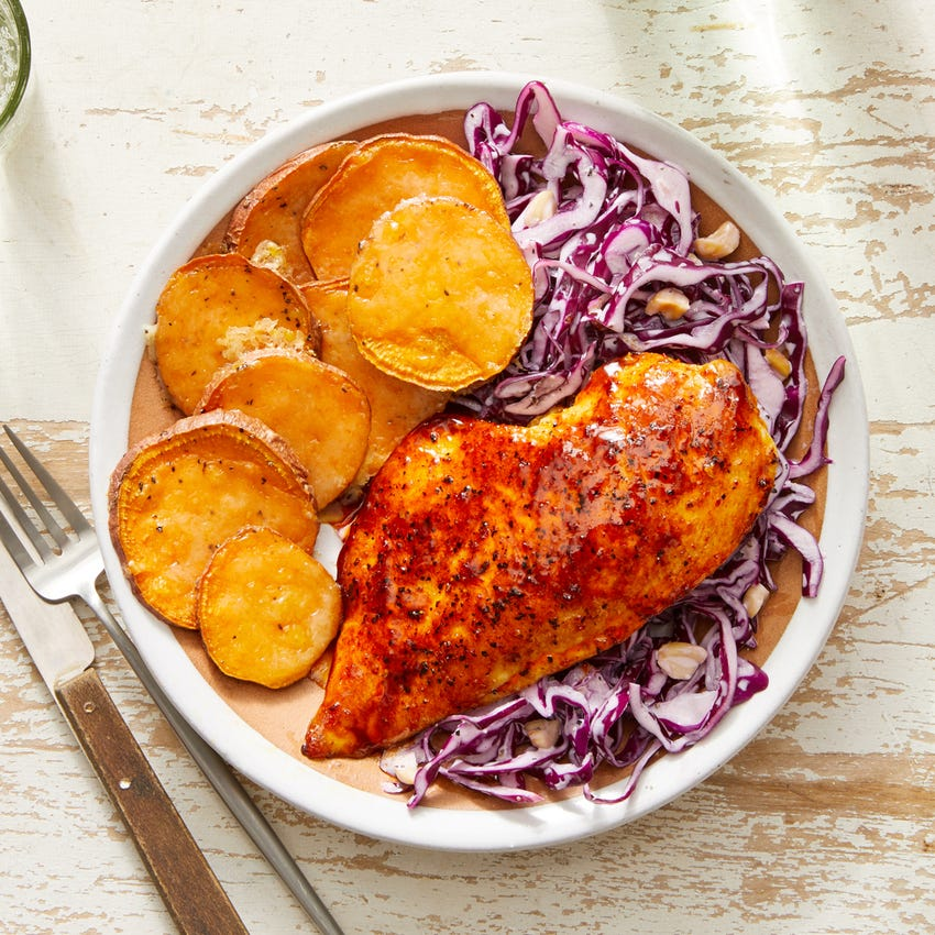 Sweet & Smoky Chicken with Cheesy Sweet Potatoes & Cabbage Slaw