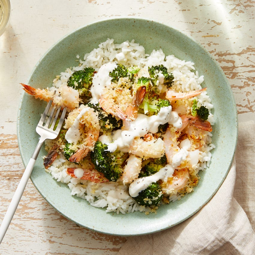 Lemon & Oregano Baked Shrimp with Roasted Broccoli