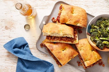 Italian Beef & Fontina Sandwiches with Caesar-Dressed Broccoli