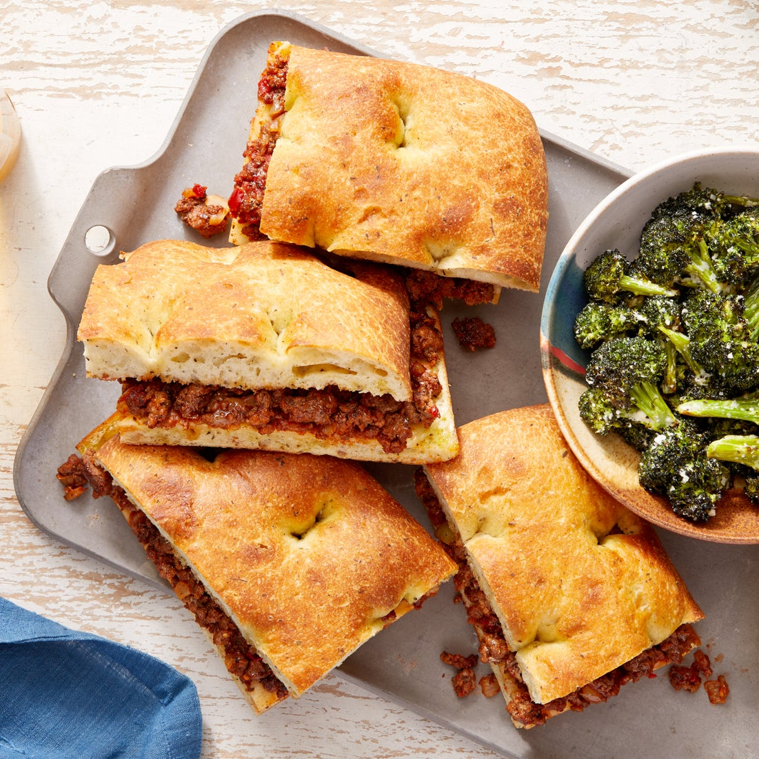 Italian Beef & Fontina Sandwiches with Caesar-Dressed Broccoli