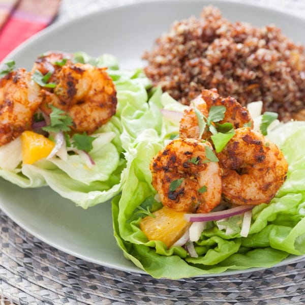 Latin-Spiced Shrimp in Butter Lettuce Cups with Red Quinoa & Poblano, Jicama and Orange Salad