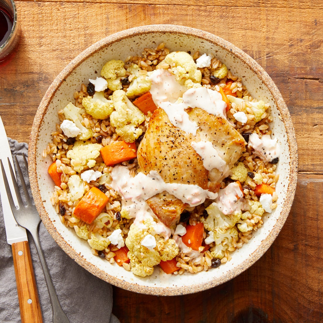 Seared Chicken Thighs & Creamy Pepper Sauce with Za'atar-Spiced Vegetables & Farro