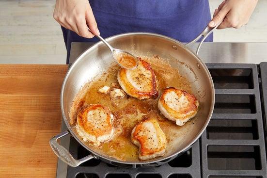 Prepare the garlic & cook the pork: