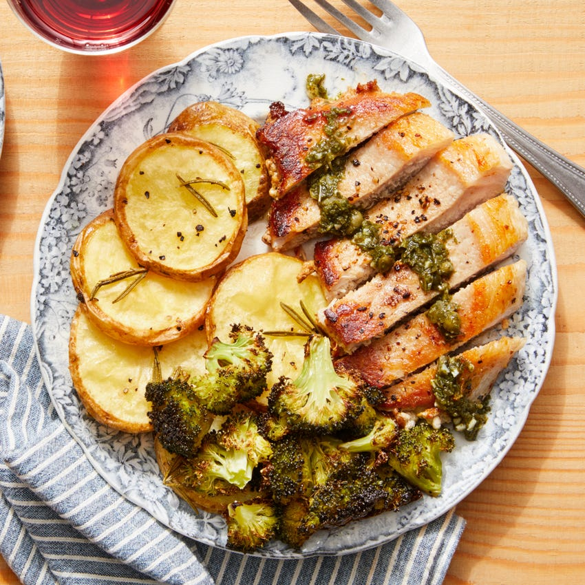 Pork Chops & Salsa Verde with Rosemary Roasted Potatoes