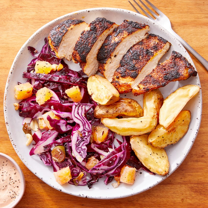 Mexican-Spiced Chicken with Spicy Orange Slaw