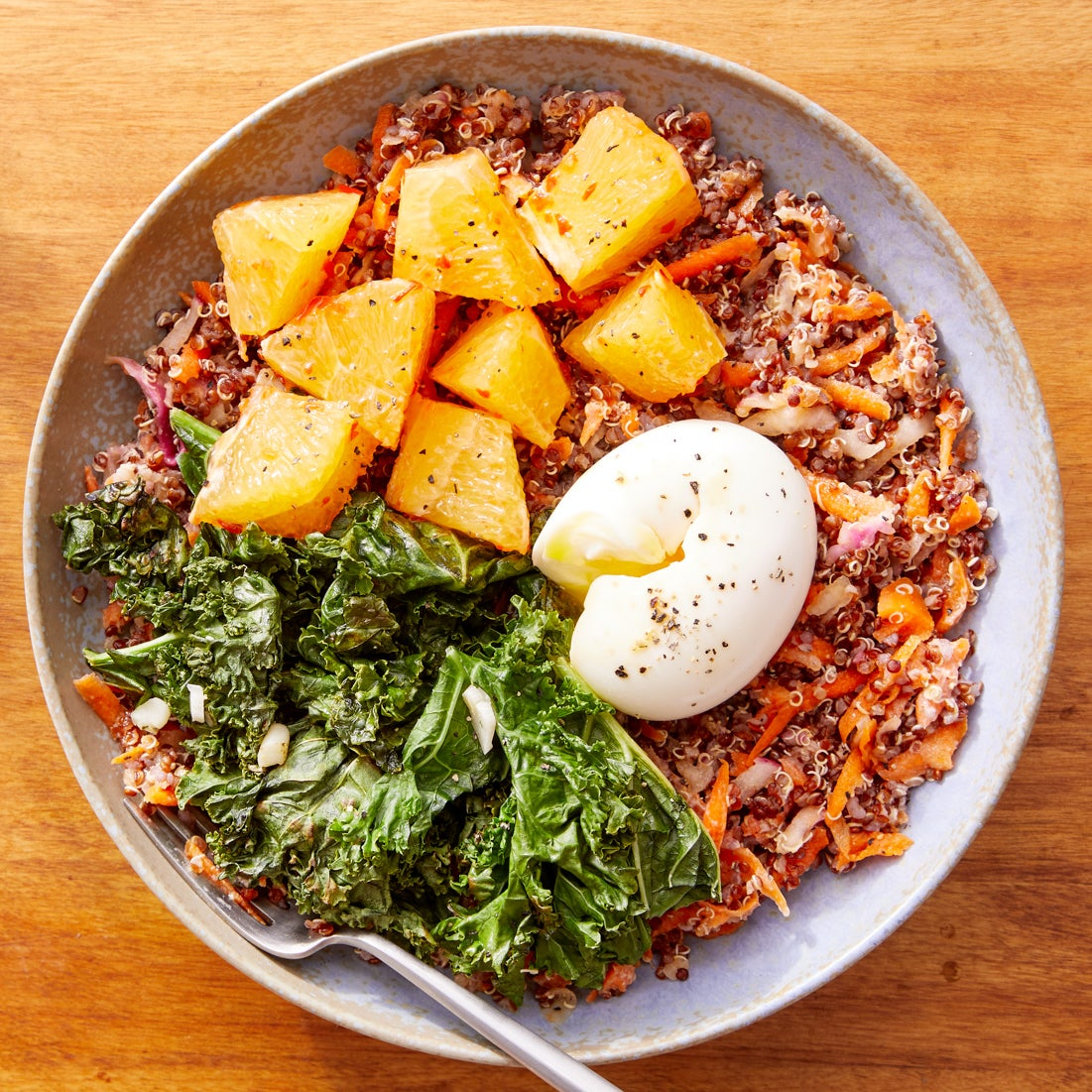 Sesame Kale & Quinoa Bowls with Marinated Vegetables & Soft-Boiled Eggs