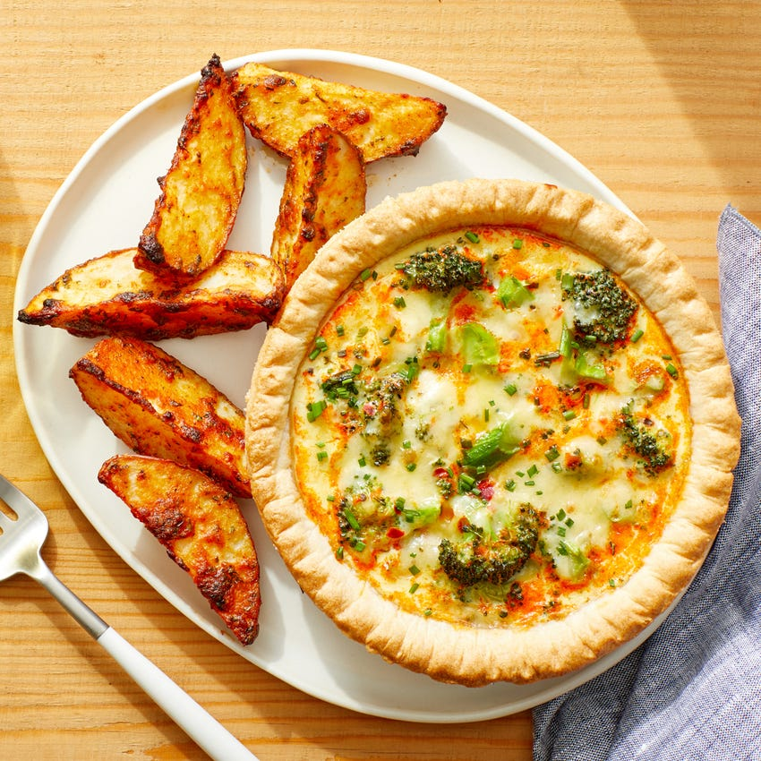Broccoli & Cheddar Quiche with Roasted Potatoes