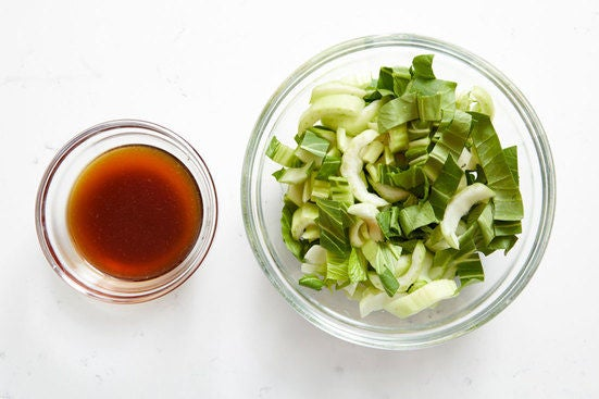 Prepare the bok choy & make the sauce: