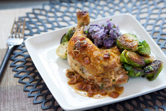 Pan-Seared Chicken Legs  with Purple Smashed Potatoes, Brussels Sprouts & Warm Bacon Vinaigrette