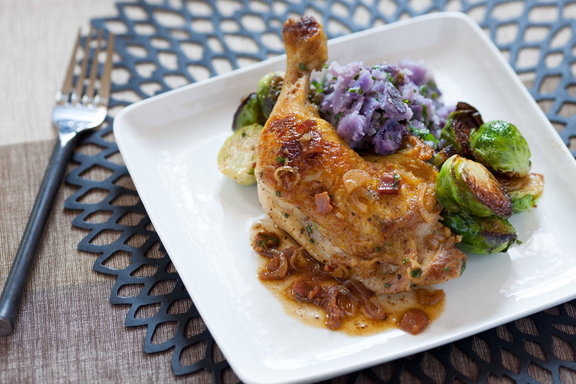Recipe pan seared chicken legs with purple potatoes for Chicken and brussel sprouts skillet