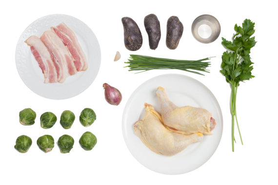 Pan-Seared Chicken Legs  with Purple Smashed Potatoes, Brussels Sprouts & Warm Bacon Vinaigrette ingredients