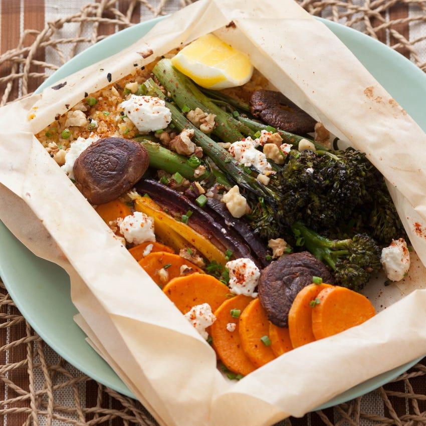 Roasted Sweet Potato Rounds, Carrots & Broccolette En Papillote with Feta Cheese & Crispy Shitake Mushrooms