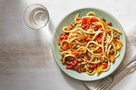One Pot Beef & Udon Noodles with Sweet Peppers & Carrots