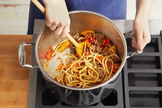 Add the noodles & serve your dish: