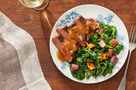 Seared Steak & Soy-Miso Pan Sauce with Sweet Potatoes & Kale