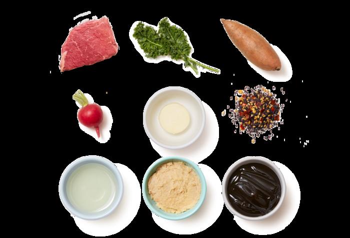 Seared Steak & Soy-Miso Pan Sauce with Sweet Potatoes & Kale