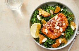 Smoky Seared Cod & Lemon-Date Sauce over Potatoes & Kale