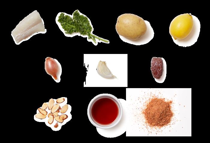Smoky Seared Cod & Lemon-Date Sauce over Potatoes & Kale