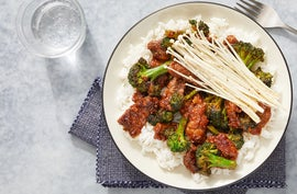 Beef & Broccoli with Marinated Enoki Mushrooms & Jasmine Rice