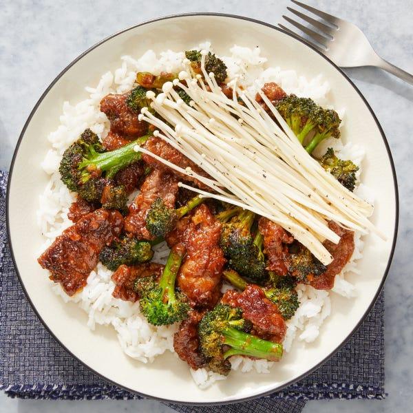 Beef & Broccoli with Marinated Enoki Mushrooms & Jasmine Rice