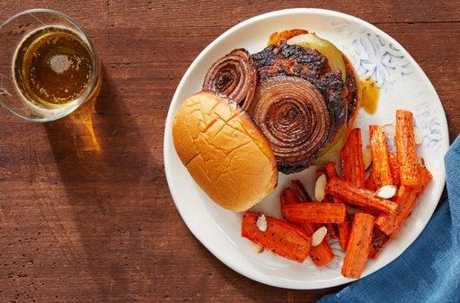 Sweet & Smoky Pork Burgers with Roasted Carrots