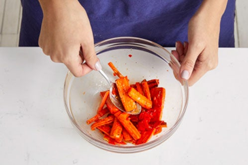 Dress the carrots & serve your dish: