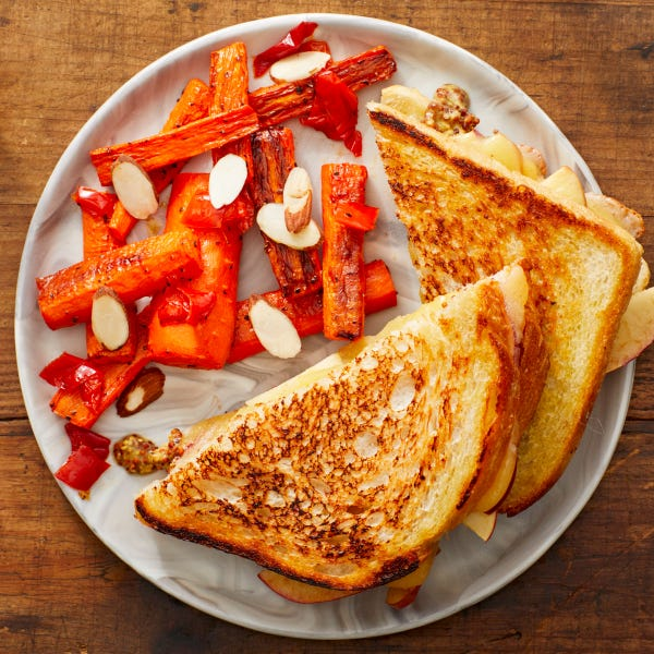 Apple & Cheddar Grilled Cheese with Roasted Carrots & Pickled Peppers
