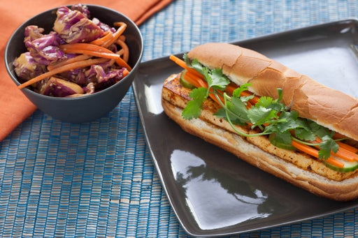Tofu Banh Mi with Napa Cabbage & Peanut Salad
