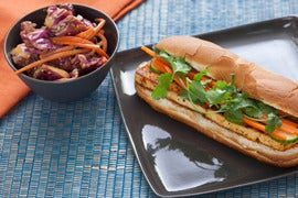 Tofu Banh Mi with Napa Cabbage & Peanut Salad
