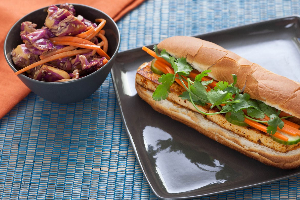 recipe tofu banh mi with napa cabbage peanut salad blue apron. Black Bedroom Furniture Sets. Home Design Ideas
