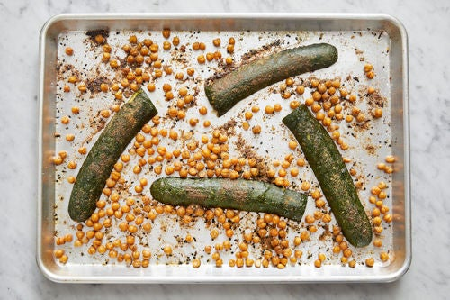 Roast the chickpeas & zucchini: