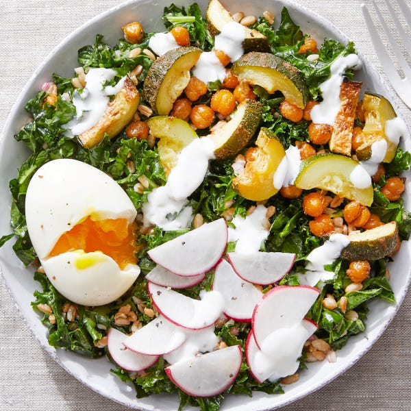 Roasted Chickpea & Farro Bowl with a Soft-Boiled Egg