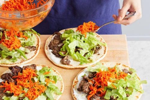 Assemble the pitas & serve your dish: