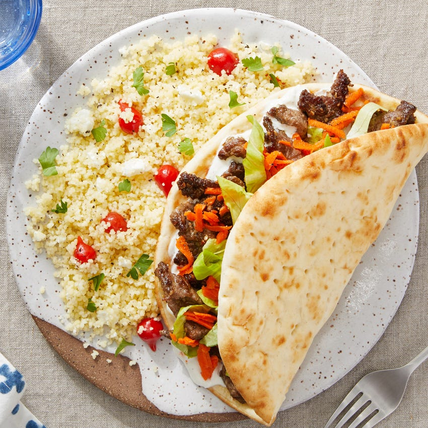 Za'atar Beef & Tzatziki Pitas with Couscous, Goat Cheese, & Pickled Peppers