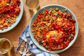 Moroccan-Style Chicken with Prunes over Farro