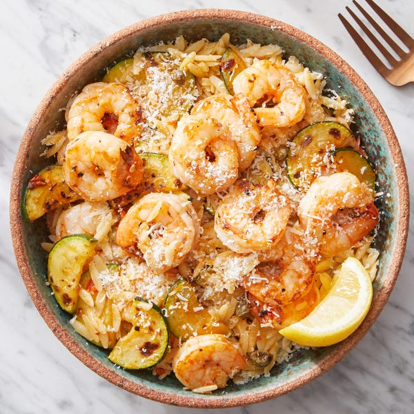 Calabrian Shrimp & Orzo with Zucchini
