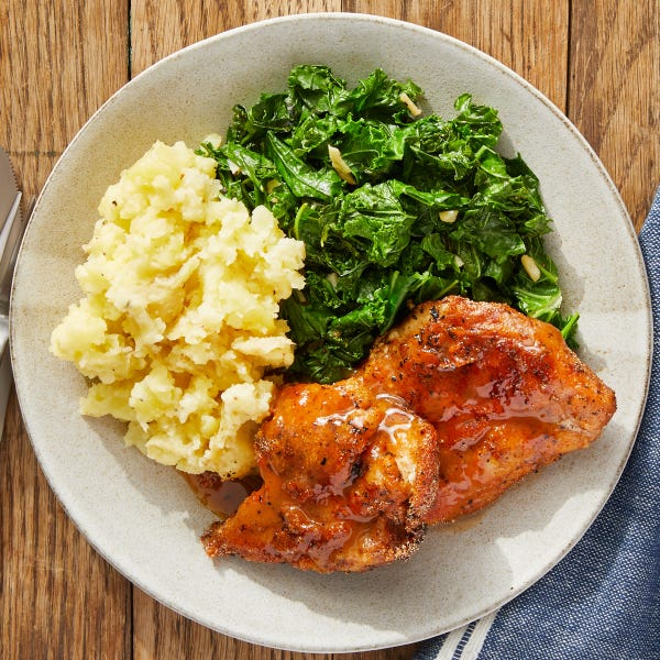 Smoky Chicken Thighs with Mashed Potatoes & Garlic-Sautéed Kale