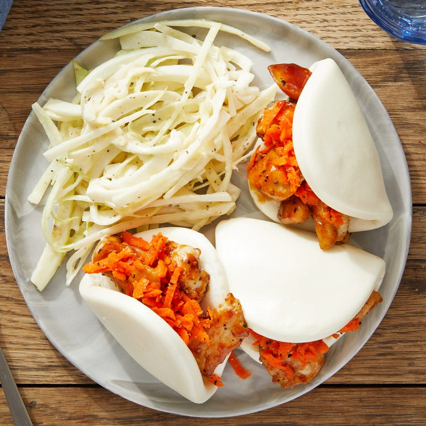 Hoisin Chicken Steam Buns with Marinated Carrots & Miso Cabbage Slaw